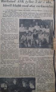 Keeper skrev 1957 om 2-årsjubilerande RASK i Arvika Nyheter. (Tack till J-E Blomén som sparat klippet)